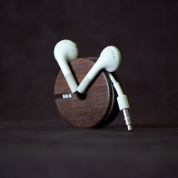 Wood Earbud Holder headphone cable roller