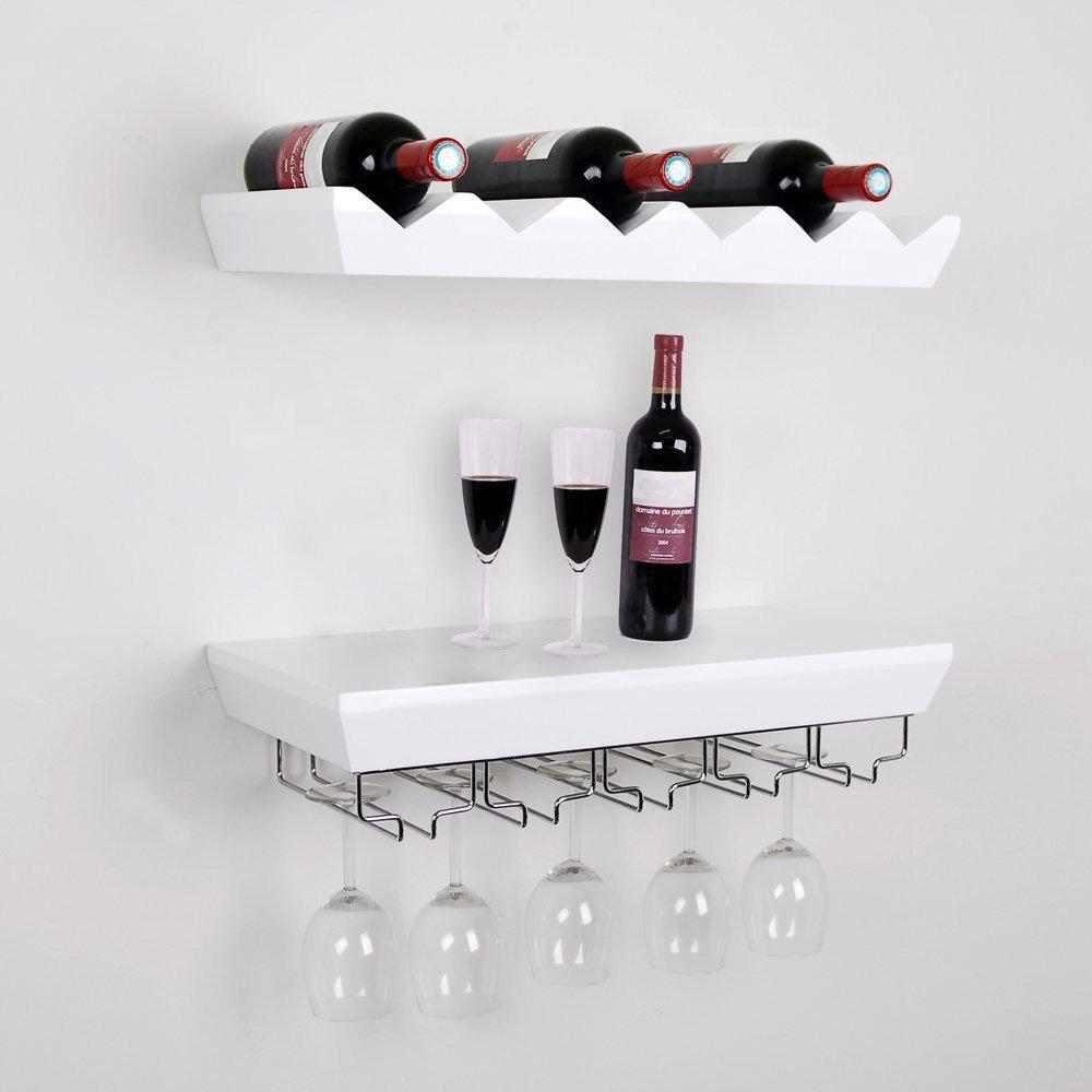 Wall Mounted Bottle Wine Rack Shelf With Glass Holder