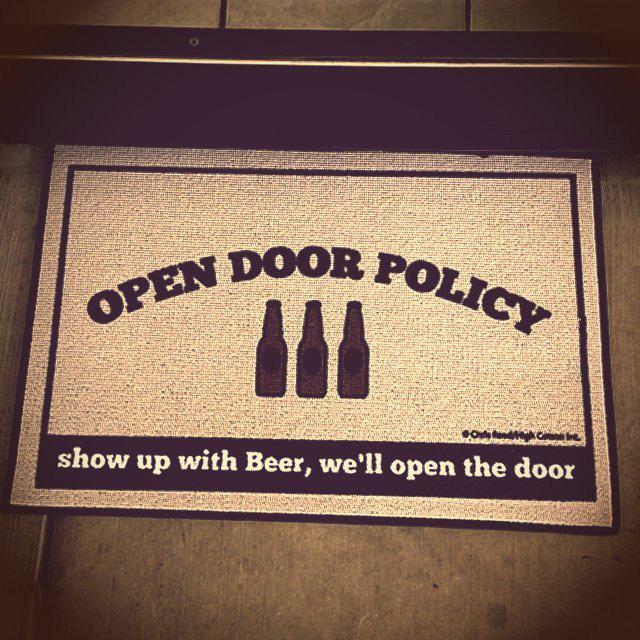 Open Door Beer Policy Doormat