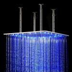 Wall Mount Square Rainfall LED Shower Head
