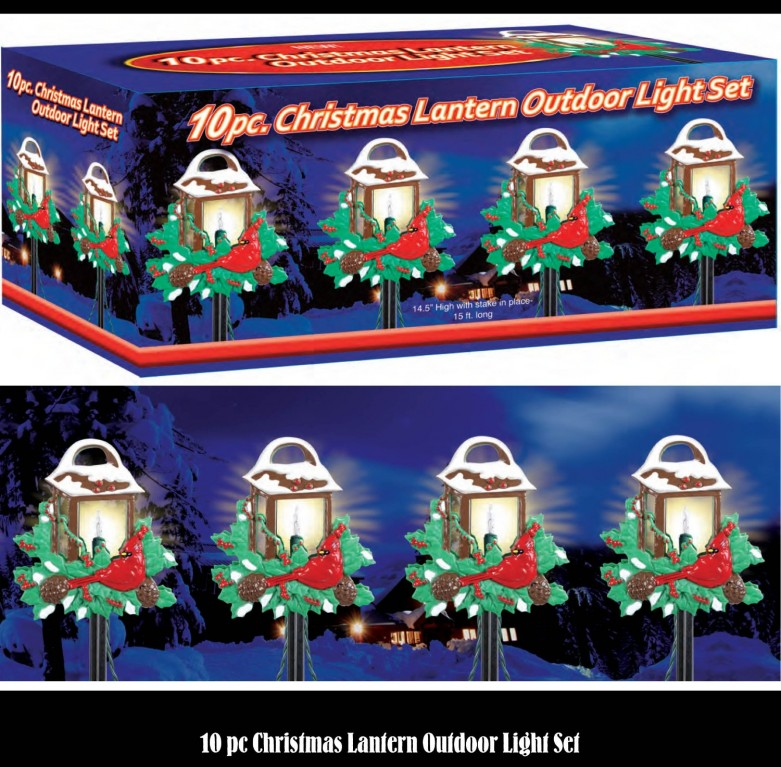 Cardinal Holiday Lantern Path Lights