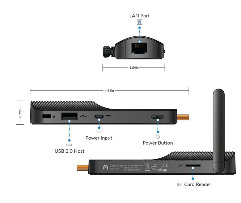 Quantum Access LAN Fanless Mini PC Stick Connections