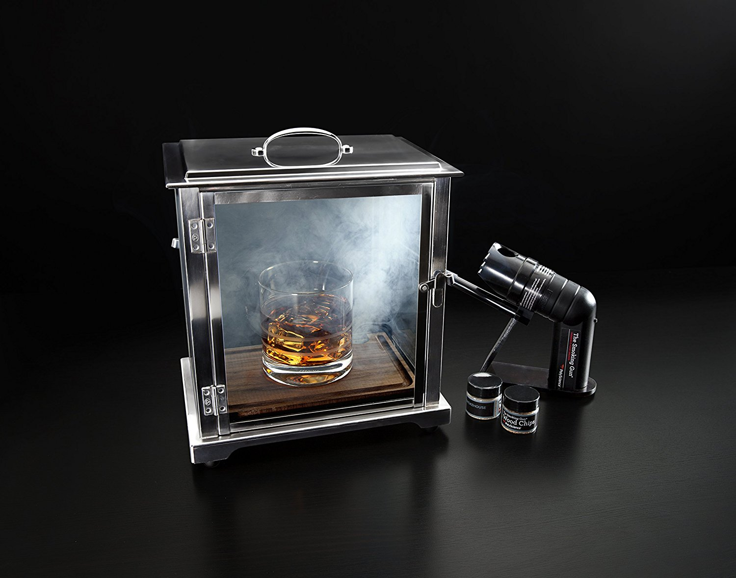Stainless Steel and Glass Smoking Box with Smoking Gun by Crafthouse by Fortessa