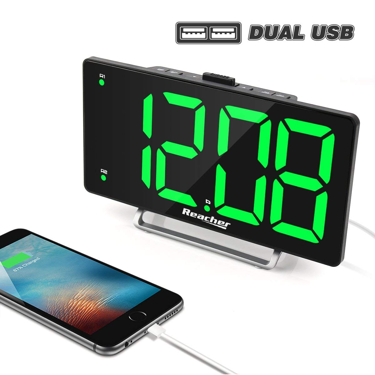 Large LED Display Digital Alarm Clock